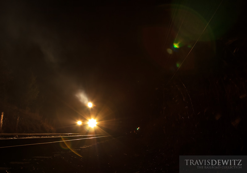 """An eerie night with low hanging exhaust from a Union Pacific train moving down the Altoona Sub.  Travis Dewitz <a href=""""http://www.therailroadcollection.com/latest-works/"""" target=""""_blank"""">The Railroad Collection</a>"""