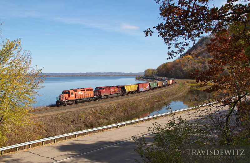 """Canadian Pacific SD40-2 #5739 powers past the fall colors at Maple Springs, MN.  Travis Dewitz <a href=""""http://www.therailroadcollection.com/latest-works/"""" target=""""_blank"""">The Railroad Collection</a>"""