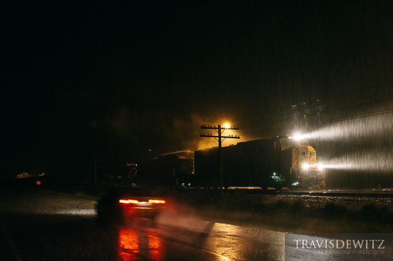Torrential rains continue to fall during the night as severe weather passes across western Wisconsin. The heavy rain floods in through the top of the locomotives causing heavy steam to rise from the locomotives almost as they did years ago here on the Chicago & Northwestern back in the day.