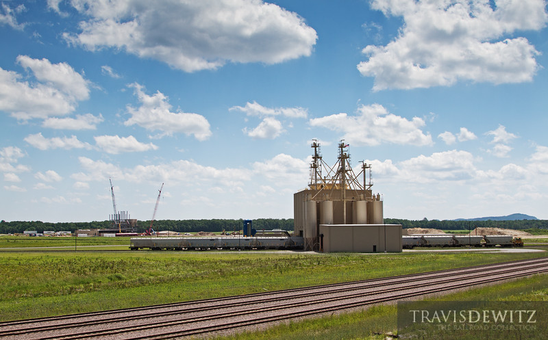 """The new Atlas Sand Plant in Merrillan, Wisconsin is in operation with their next new plant under construction in the background.  Travis Dewitz <a href=""""http://www.therailroadcollection.com/latest-works/"""" target=""""_blank"""">The Railroad Collection</a>"""