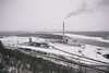 Powder River Basin coal just arrives at the Dairyland Power Cooperative in Alma, Wisconsin on this snowy winter day.