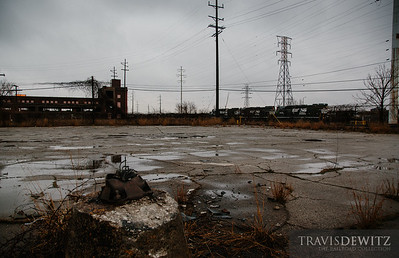 Norfolk Southern high nose EMDs sit along an abandoned lot in East Chicago, Indiana.