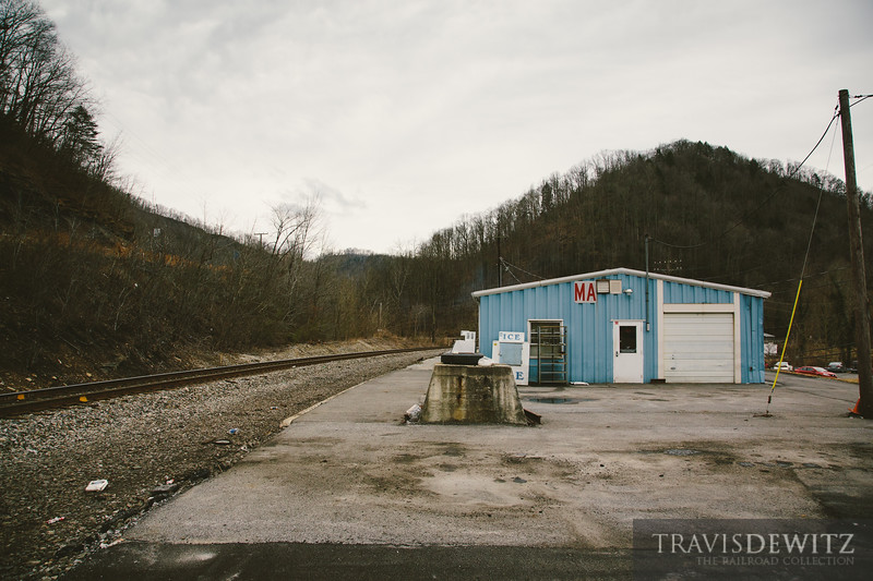A trackside maintenance building sits along the Norfolk Southern in Mullens, West Virginia.