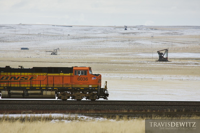 Jackpumps dot the snow covered Wyoming landscape along the Orin Sub.