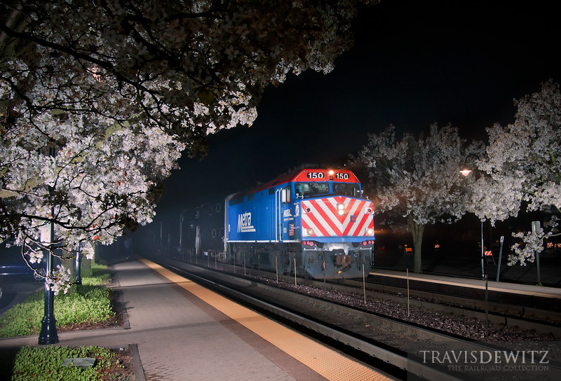 "Metra 150 gets lit up by speedlights at Lake Forest station. Thanks to John Ryan for the rest of the set up that was needed.  Travis Dewitz <a href=""http://www.therailroadcollection.com/latest-works/"" target=""_blank"">The Railroad Collection</a>"