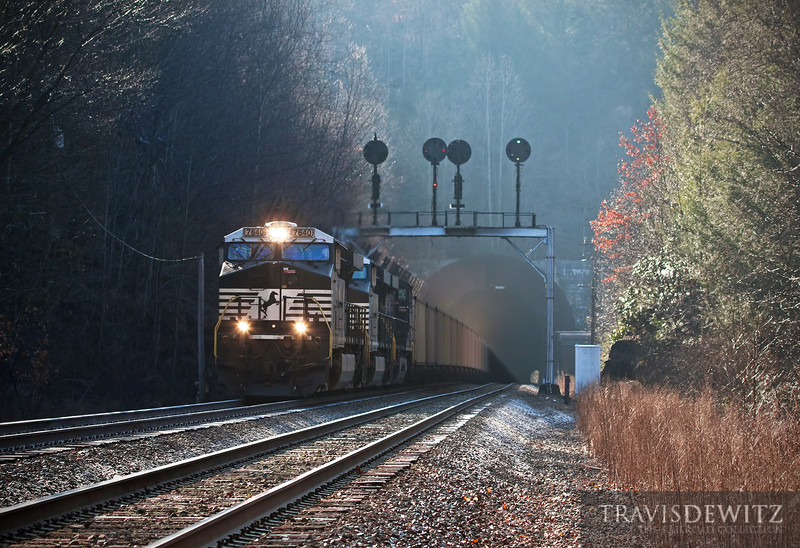 "Norfolk Southern 7640 breaks the morning silence as it rushes west out of the Elkhorn Tunnel on the Pocahontas Division near Maybeury, West Virginia.  Travis Dewitz <a href=""http://www.therailroadcollection.com/latest-works/"" target=""_blank"">The Railroad Collection</a>"