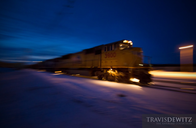 """Union Pacific 3900 leads eastbound into Altoona yard on this late winter evening.  Travis Dewitz <a href=""""http://www.therailroadcollection.com/latest-works/"""" target=""""_blank"""">The Railroad Collection</a>"""