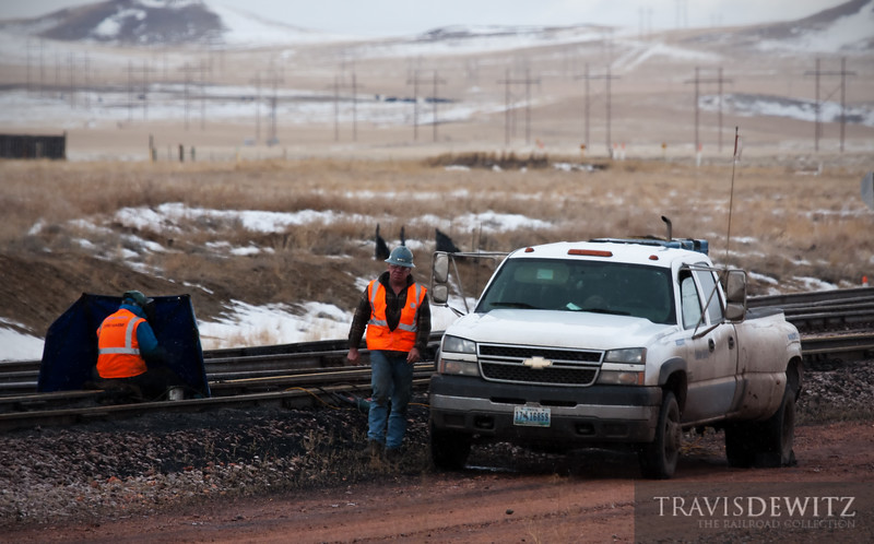 """A Balfour Beatty crew does some track welding on a cold winter day near Donkey Creek Jct. on BNSF's mainline to the Powder River Basin.  Travis Dewitz <a href=""""http://www.therailroadcollection.com/latest-works/"""" target=""""_blank"""">The Railroad Collection</a>"""