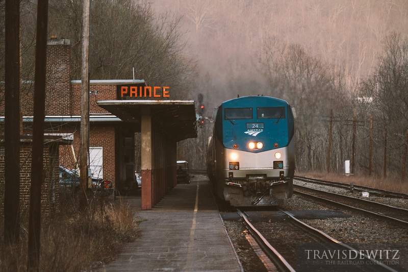 The Amtrak Cardinal pulls up the the Prince passenger station along the New River in West Virginia.