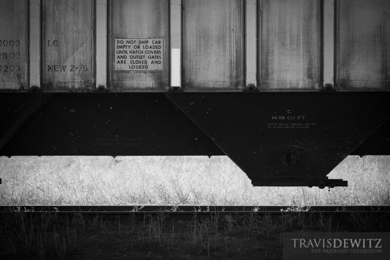 A grain hopper sits in line at the Arriba, Colorado grain elevator waiting to be loaded.