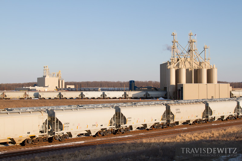 Two Atlas frac sand processing facilities in Merrillan, Wisconsin keep Union Pacific busy with the many sand hoppers it takes to keep the plant running.