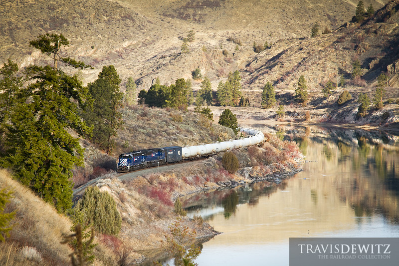 The Montana Rail Link gas local snakes along the Flathead River just east of Perma, Montana led by MRL 346.