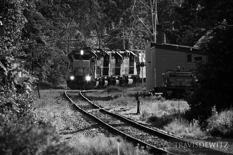 """Union Pacific 1353 crosses Woodward Ave. in Chippewa Falls, Wisconsin on there way to Norma to transfer with the Wisconsin Northern.  Travis Dewitz <a href=""""http://www.therailroadcollection.com/latest-works/"""" target=""""_blank"""">The Railroad Collection</a>"""