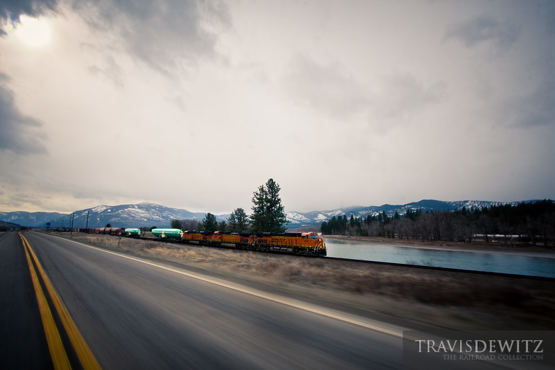 BNSF 6791 races west out of Plains, Montana with two Boeing fuselages.