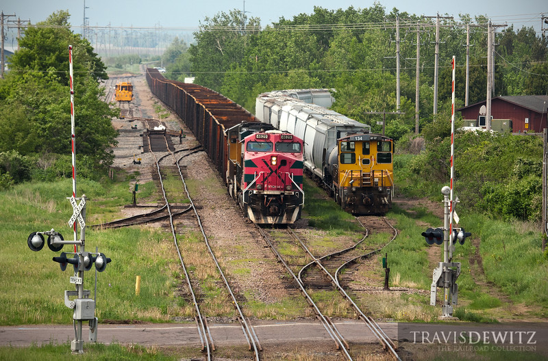 "A Wisconsin Northern frac sand train led by Ferromex 4629, waits at Norma for a Union Pacific crew to take it south to Texas. Wisconsin Northern's new lease unit can also be seen in the yard along with the new sand plant's yard lead and trackage.  Travis Dewitz <a href=""http://www.therailroadcollection.com/latest-works/"" target=""_blank"">The Railroad Collection</a>"