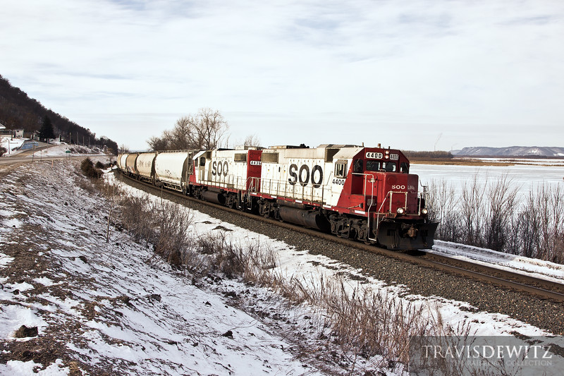 Canadian Pacific local train 580 works between St. Paul and La Crosse seen here led by Soo Line 4400 at Weaver East.
