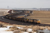 A loaded Union Pacific coal train sweeps through the curves as it heads south towards Bill, Wyoming.