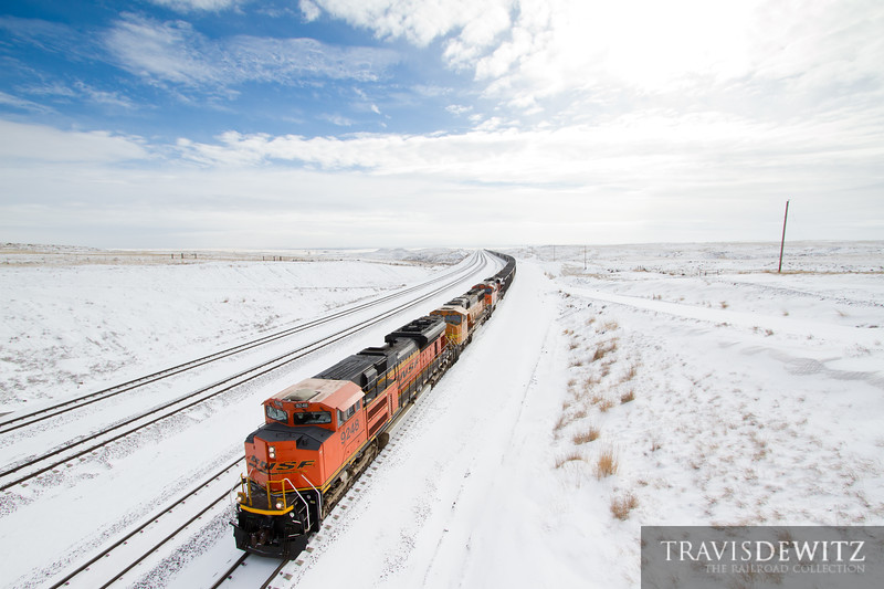 BNSF 9248 pulls hard up the eastside of the famous  Logan Hill in the Powder River Basin near Bill, Wyoming.