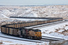 A complete view of a loaded Union Pacific coal train can be seen starting the climb up Logan Hill near Converse Junction on this cold snowy January day.  Travis Dewitz The Railroad Collection