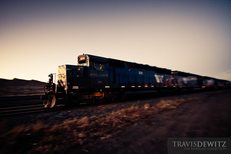 Montana Rail Link SD45-2 #325 rolls down the tracks in the Livingston, Montana yard.