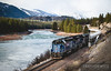 The Montana Rail Link gas train runs along the Clark Fork at track speed at Plains, Montana. The train will stop at Paradise before contining to Missoula.