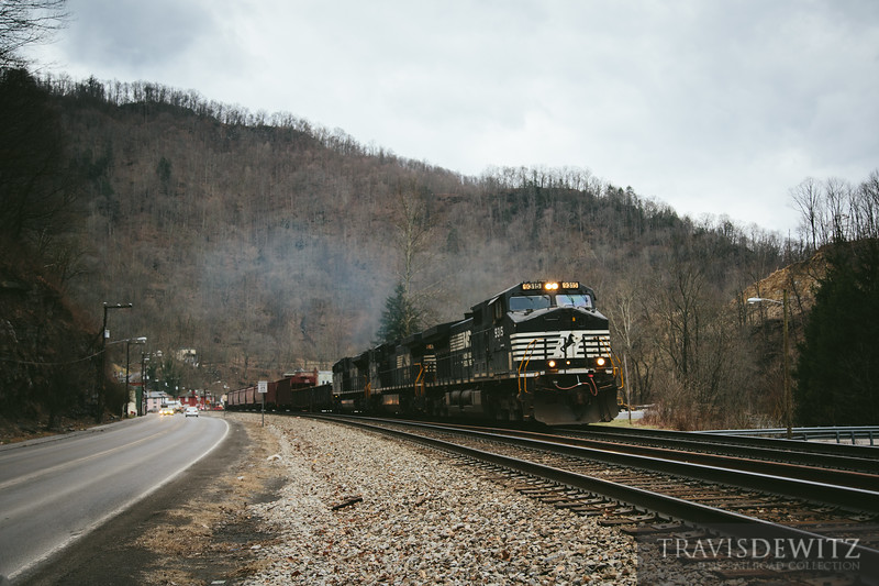 A Norfolk Southern train works the grade as it weaves through the mountain town of Keystone, West Virginia.