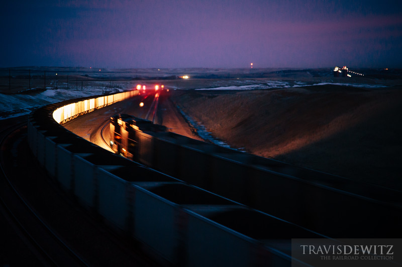 Two coal trains pass each at the summit of Logan Hill in the early morning hours.