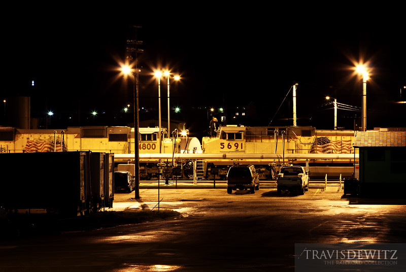 "Locomotives get serviced on a late night at Union Pacific's diesel fuel depot in Rawlins, Wyoming.  Travis Dewitz <a href=""http://www.therailroadcollection.com/latest-works/"" target=""_blank"">The Railroad Collection</a>"