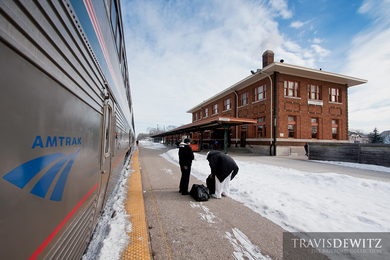 Amtrak Empire Buillder #8 is making their stop at La Crosse, Wisconsin with the beautiful La Crosse station in the background.