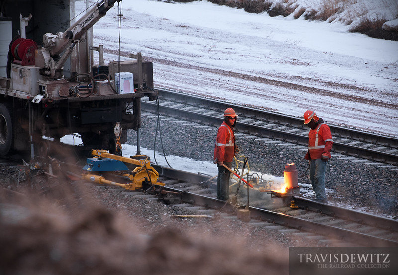 "A broken rail on the BNSF's Orin Sub gets repaired on this cold January morning.  Travis Dewitz <a href=""http://www.therailroadcollection.com/latest-works/"" target=""_blank"">The Railroad Collection</a>"