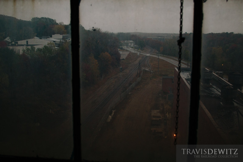 Once a complex that had three railroads serving it now is only a single railroad runs by. The view from the old Uniroyal building looking down on the Union Pacific in Eau Claire, Wisconsin.