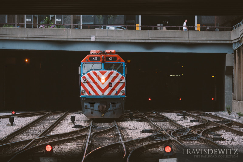 Metra 611 is on the go north out of Chicago Union Station.