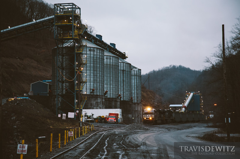 A Norfork Southern coal train creeps forward as it gets loaded with at the Eckman coal loadout in West Virginia.