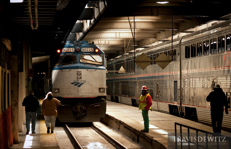 "Amtrak 90225 sits under the city of Chicago waiting at Union Station.  Travis Dewitz <a href=""http://www.therailroadcollection.com/latest-works/"" target=""_blank"">The Railroad Collection</a>"