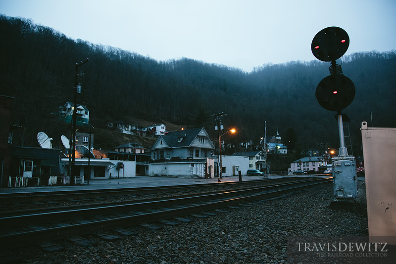 An old N&W signals stands guard in Keystone, West Virginia as night slowly turns to day.