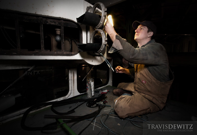 """Minnesota Transportation Museum's ex-BNSF 6327 SDP40 is having some wiring repaired for the upper headlamps by Phil Wellman.  Travis Dewitz <a href=""""http://www.therailroadcollection.com/latest-works/"""" target=""""_blank"""">The Railroad Collection</a>"""