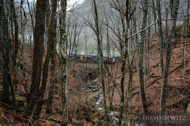 CSX coal trains pass along the New River near Prince, West Virginia.