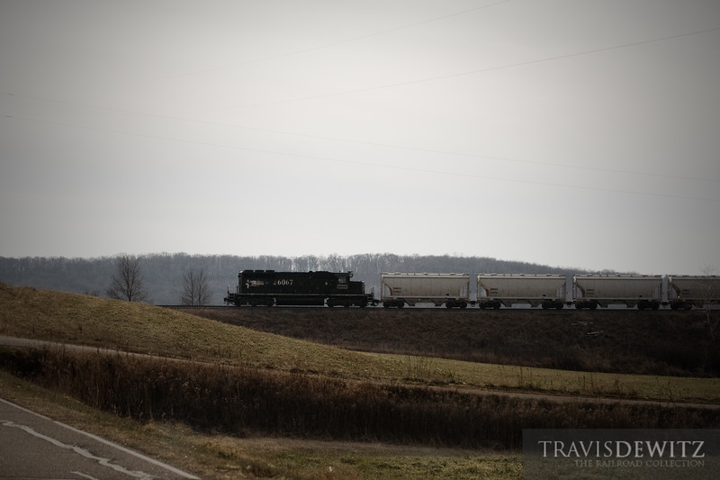 "Illinois Central 6067, with the Operation Life Saver Scheme, heads back east back to the Chippewa Falls yard long hood forward in the township of Howard, WI.  Travis Dewitz <a href=""http://www.therailroadcollection.com/latest-works/"" target=""_blank"">The Railroad Collection</a>"