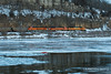 A BNSF coal train travels down the frozen Mississippi River near Hastings, Minnesota.