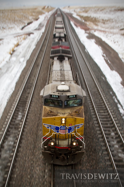 """Union Pacific 5819 spreads her wings as she flies down grade up the Orin Sub to a coal loadout for her next train load of coal.  Travis Dewitz <a href=""""http://www.therailroadcollection.com/latest-works/"""" target=""""_blank"""">The Railroad Collection</a>"""