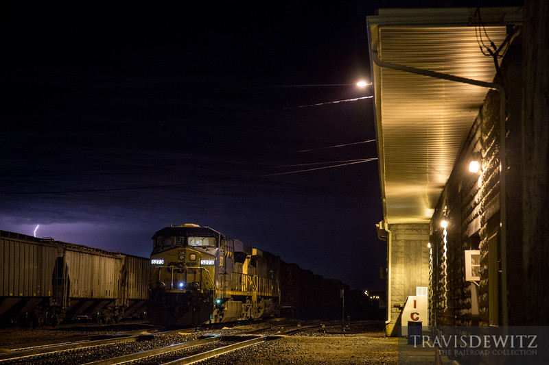 CSX power leads the latest Union Pacific manifest train into Altoona, Wisconsin as severe weather passes through the area.