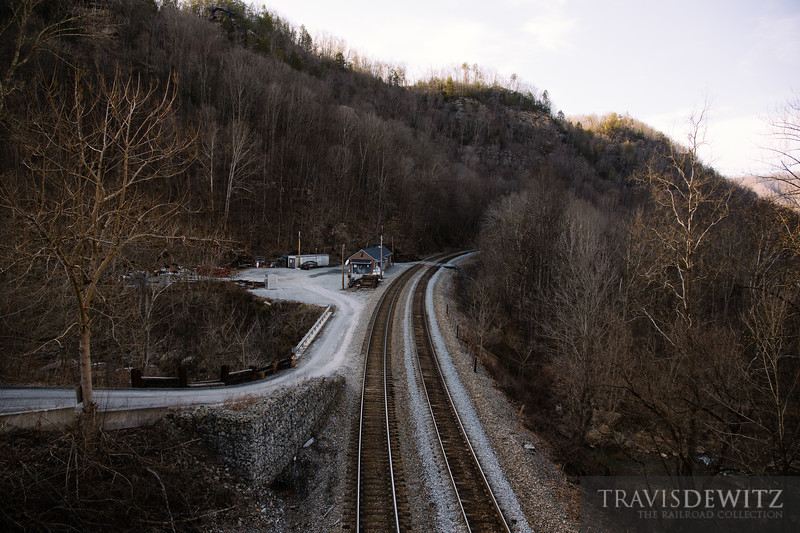 The CSX mainline along the New River at Cotton Hill, West Virginia.
