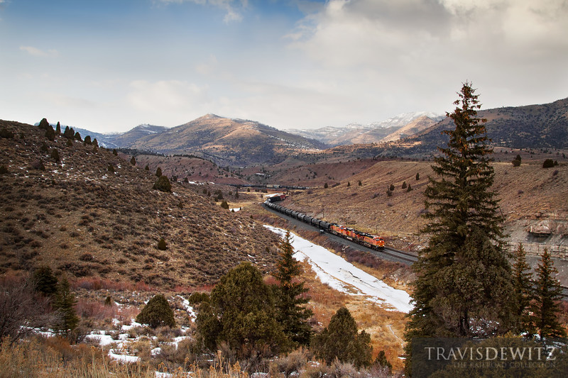 A BNSF freight train passes through some amazing scenery over Soldier Summit in Utah.