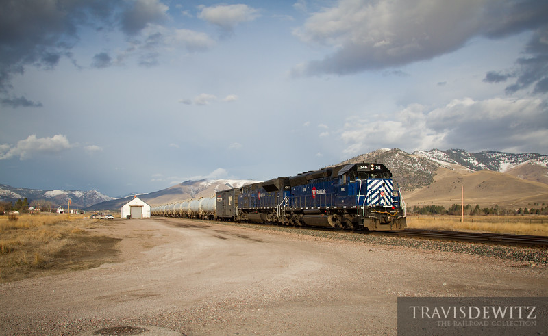 The Montana Rail Link gas local is on their way to Missoula as they pass through Dixon, Montana.