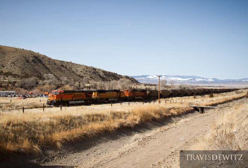 BNSF 5809 shoves west towards Helena, Montana just east of Toston.