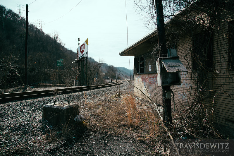 The former C&O tower still stands where the CSX Cabin Creek Sub branches off from the Kanawha Sub in Cabin Creek, West Virginia.