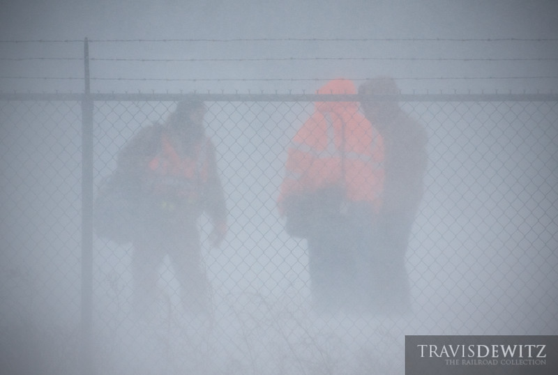 "A BNSF crew change takes in the middle of a blizzard as a coal train is handed off on the property of Dairyland Power Coopertive.  Travis Dewitz <a href=""http://www.therailroadcollection.com/latest-works/"" target=""_blank"">The Railroad Collection</a>"