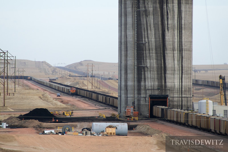 Coal train line up to get loaded at the new Black Thunder West coal load out site.
