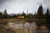 A Herzog rail train heads east on Canadian National's line from Ladysmith to Bradley, Wisconsin.