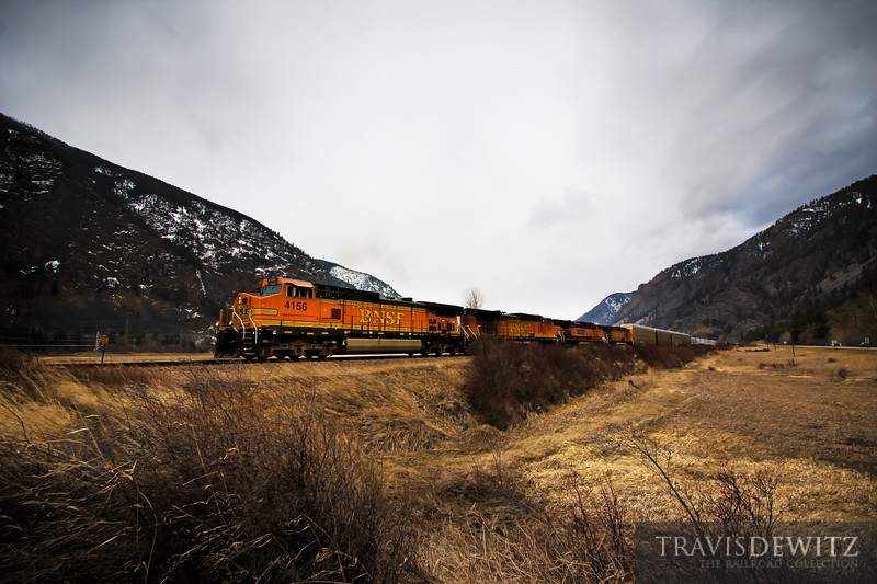 BNSF 4156 rolls east towards Plains, Montana through the beautiful mountainous landscape.